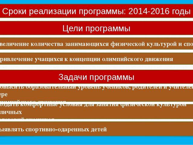 Сроки реализации программы: 2014-2016 годы Цели программы Увеличение количест...