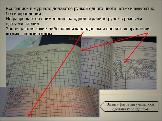 Все записи в журнале делаются ручкой одного цвета четко и аккуратно, без испр...