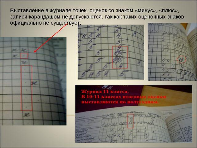 Выставление в журнале точек, оценок со знаком «минус», «плюс», записи каранда...
