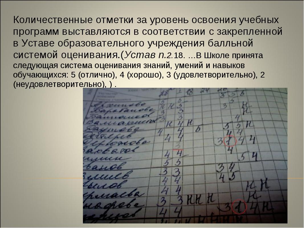 Количественные отметки за уровень освоения учебных программ выставляются в со...