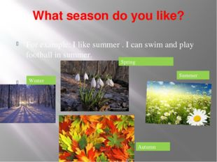 What season do you like? For example: I like summer . I can swim and play foo