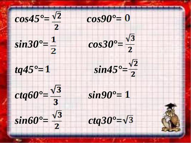 cos45°= cos90°= sin30°= cos30°= tq45°= sin45°= ctq60°= sin90°= sin60°= ctq30°=