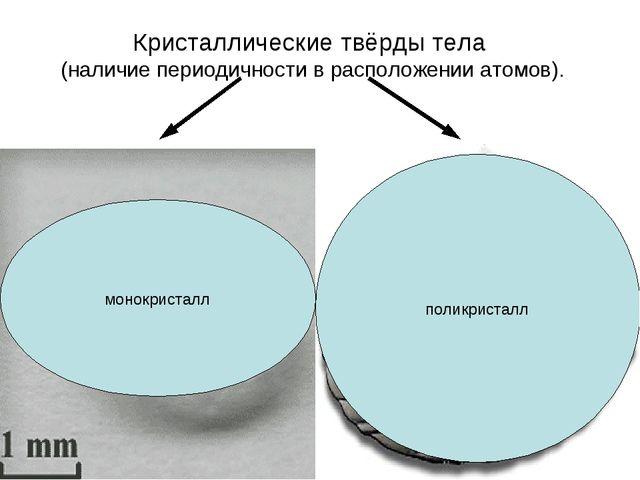 Кристаллические твёрды тела (наличие периодичности в расположении атомов). Те...