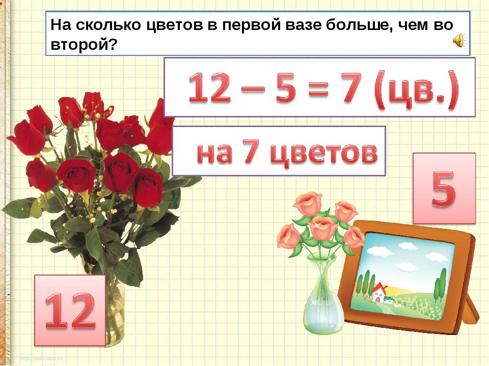 На сколько цветов в первой вазе больше, чем во второй?