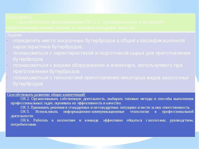 Цель урока: Способствоватьформированию ПК2.1.Организовывать и проводить при...