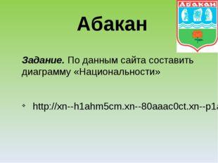 Задание. По данным сайта составить диаграмму «Национальности» http://xn--h1ah
