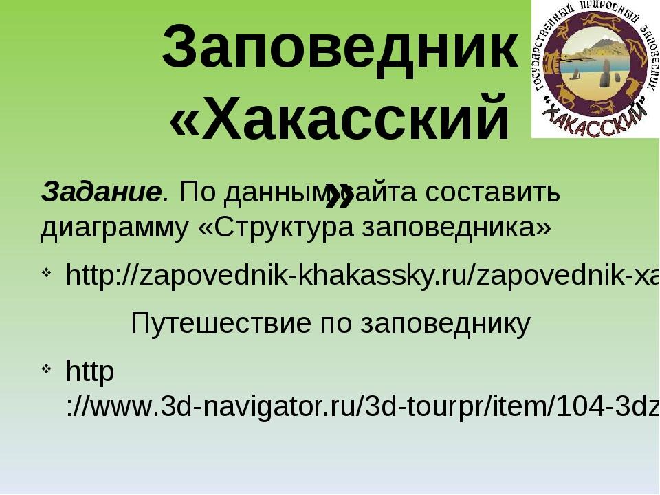Задание. По данным сайта составить диаграмму «Структура заповедника» http://z...