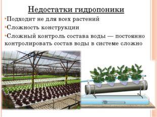 Недостатки гидропоники Подходит не для всех растений Сложность конструкции Сл