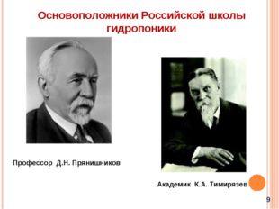 Профессор Д.Н. Прянишников Академик К.А. Тимирязев Основоположники Российской