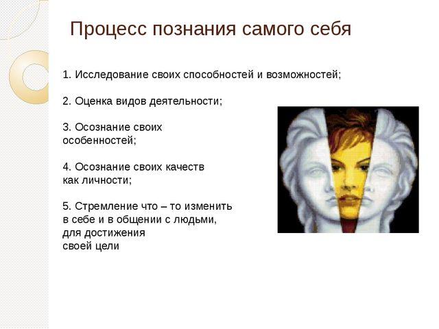 Процесс познания самого себя 1. Исследование своих способностей и возможносте...