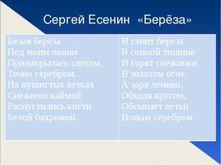 Сергей Есенин «Берёза» Белая берёза Под моим окном Принакрылась снегом, Точ