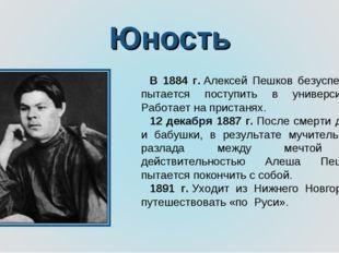 Юность В 1884 г.Алексей Пешков безуспешно пытается поступить в университет.