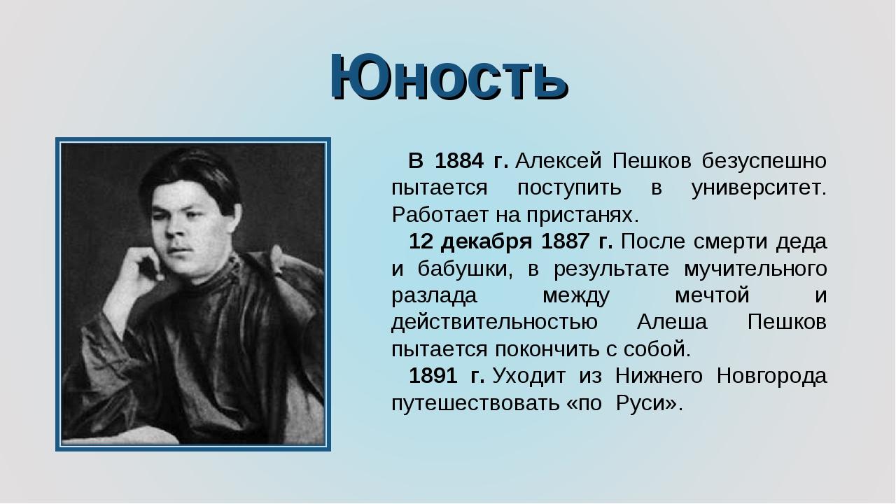 Юность В 1884 г.Алексей Пешков безуспешно пытается поступить в университет....