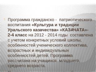 Программа гражданско - патриотического воспитания «Культура и традиции Ураль