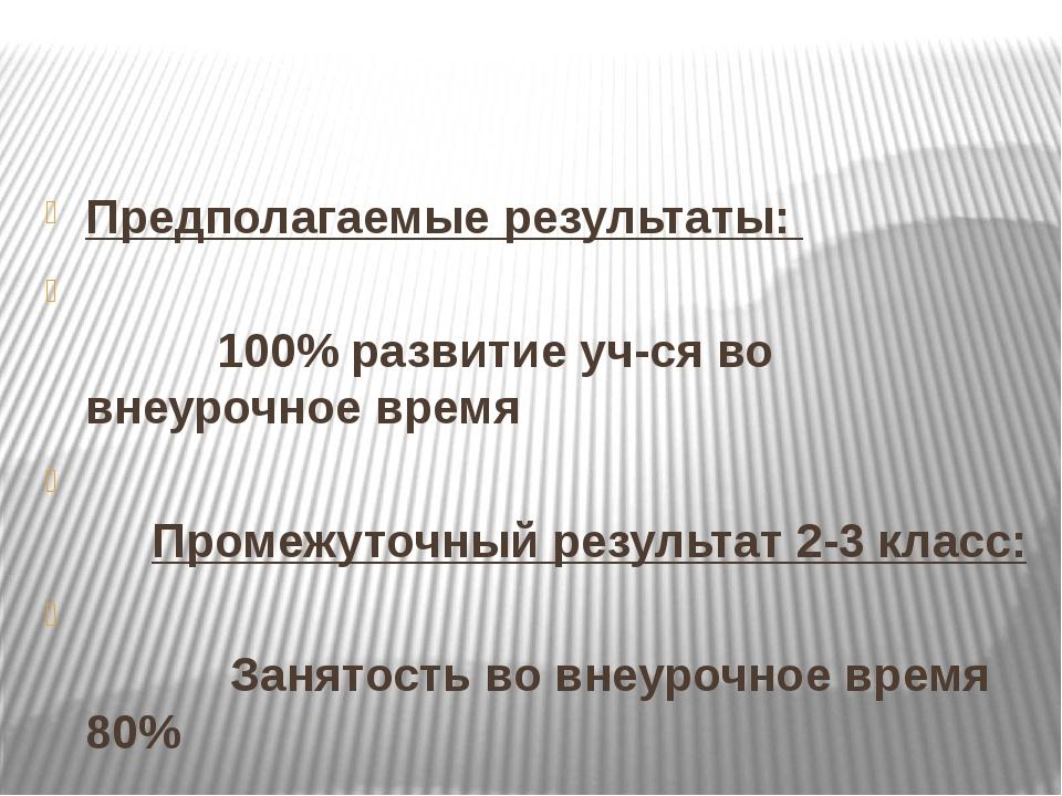Предполагаемые результаты: 100% развитие уч-ся во внеурочное время Промежуто...