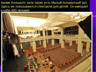 Кроме Большого зала также есть Малый Концертный зал. Здесь же показываются сп