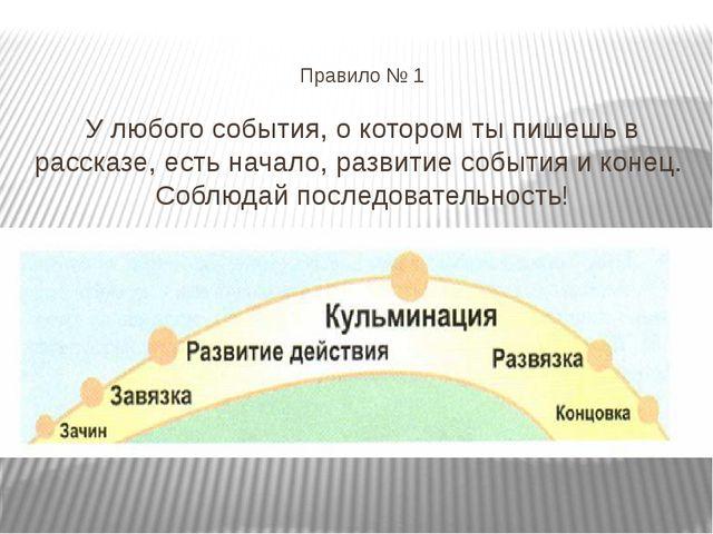 Правило № 1 У любого события, о котором ты пишешь в рассказе, есть начало, р...