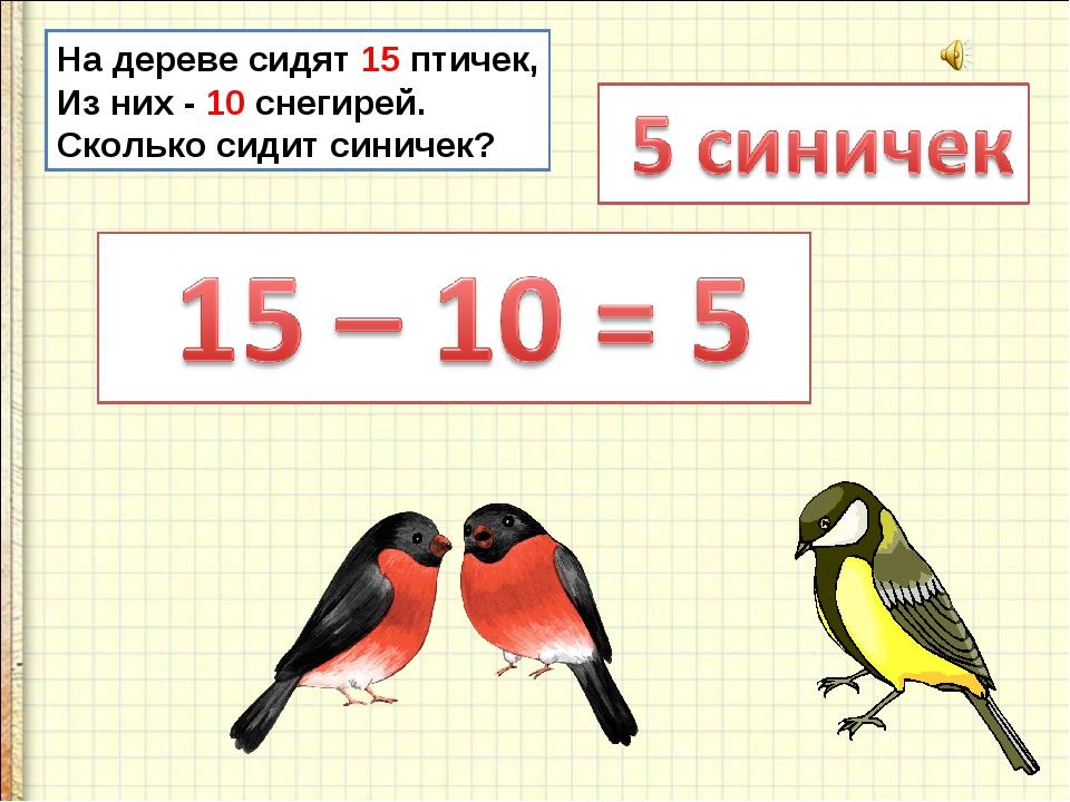 На дереве сидят 15 птичек, Из них - 10 снегирей. Сколько сидит синичек?