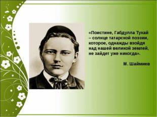 «Поистине, Габдулла Тукай – солнце татарской поэзии, которое, однажды взойдя