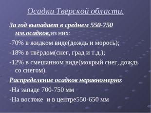 Осадки Тверской области. За год выпадает в среднем 550-750 мм.осадков,из них:
