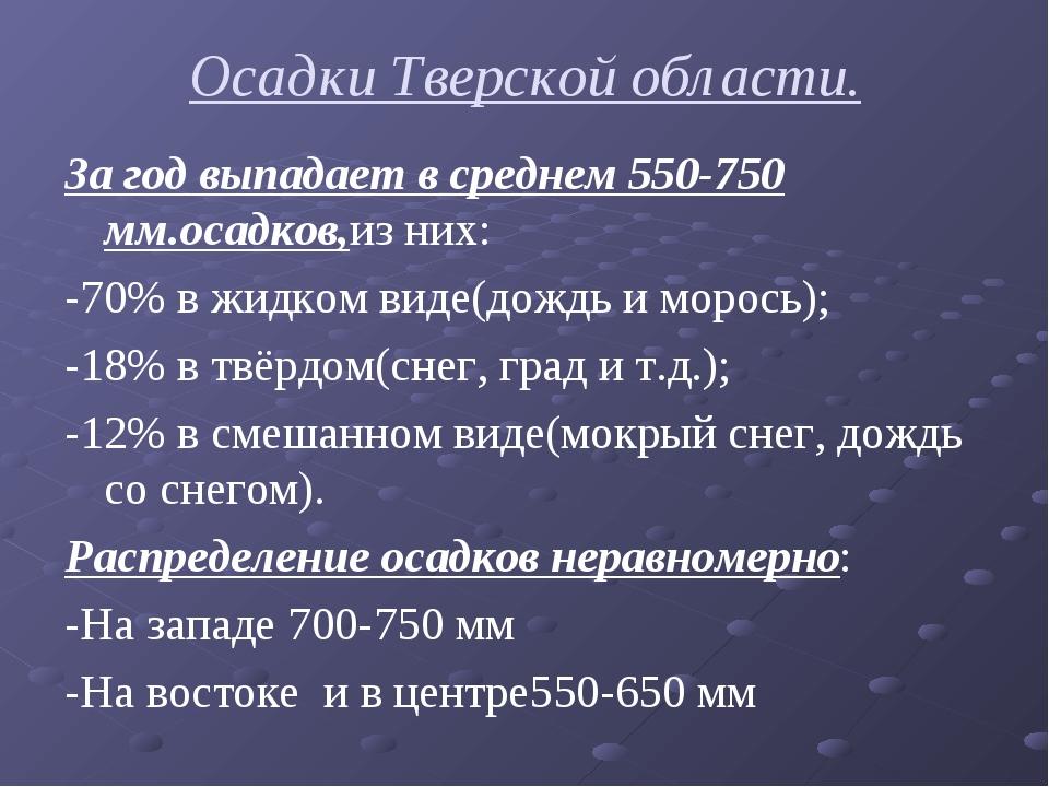 Осадки Тверской области. За год выпадает в среднем 550-750 мм.осадков,из них:...