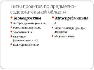 Типы проектов по предметно-содержательной области Монопроекты литературно-тво
