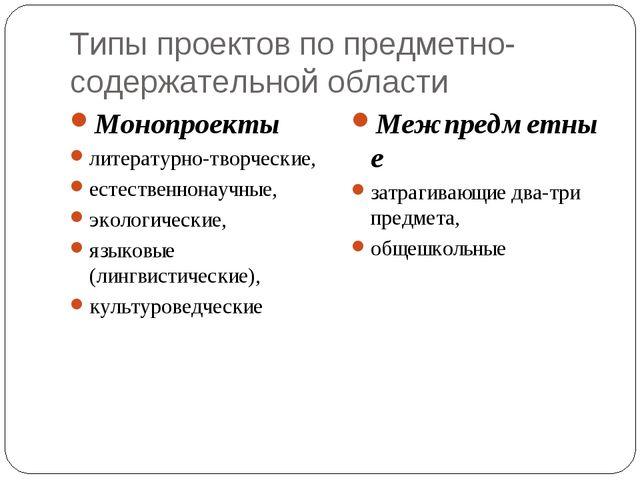 Типы проектов по предметно-содержательной области Монопроекты литературно-тво...