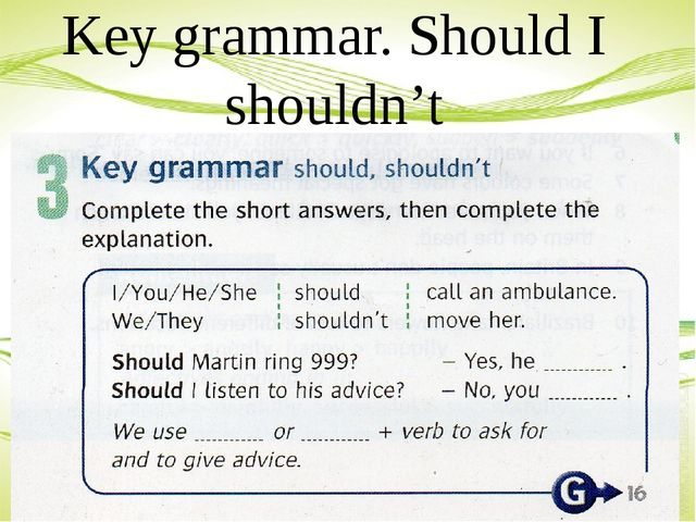 Key grammar. Should I shouldn't