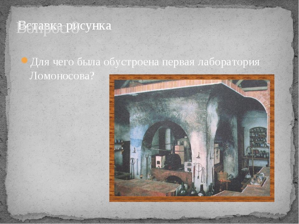 Вопрос 8 Для чего была обустроена первая лаборатория Ломоносова?
