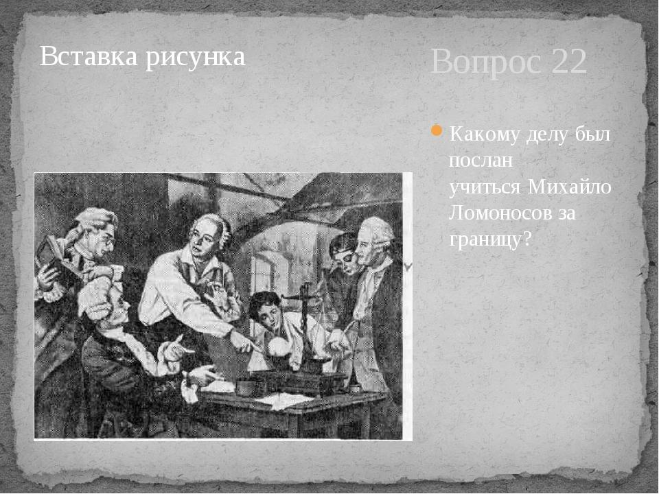 Вопрос 22 Какому делу был послан учитьсяМихайло Ломоносов за границу?