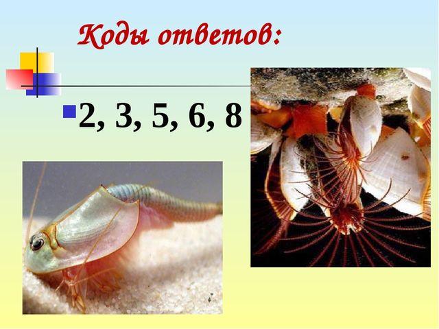 2, 3, 5, 6, 8 Коды ответов: