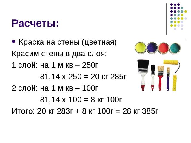 Расчеты: Краска на стены (цветная) Красим стены в два слоя: 1 слой: на 1 м кв...