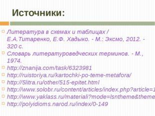 Источники: Литература в схемах и таблицах / Е.А.Титаренко, Е.Ф. Хадыко. - М.: