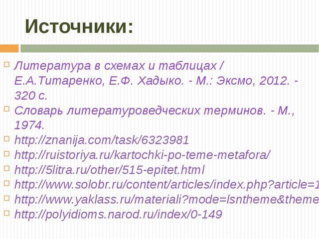Источники: Литература в схемах и таблицах / Е.А.Титаренко, Е.Ф. Хадыко. - М.:...