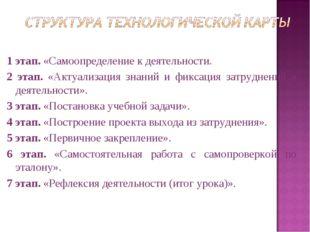 1 этап. «Самоопределение к деятельности. 2 этап. «Актуализация знаний и фикса