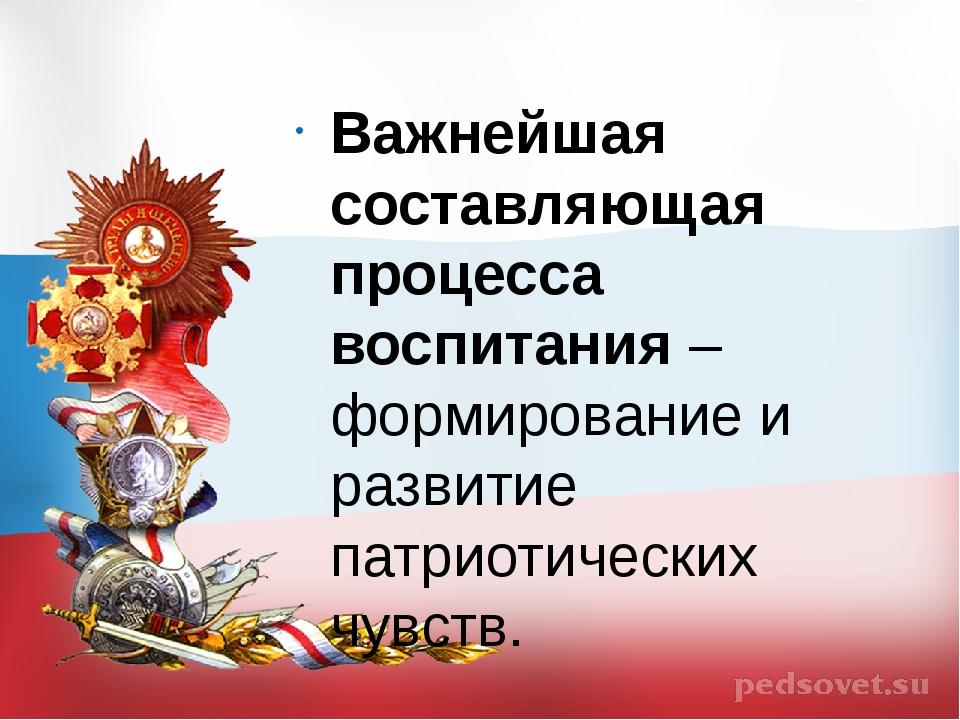 Важнейшая составляющая процесса воспитания – формирование и развитие патриоти...