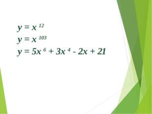 Найдите производную функции y = x 12 y = x 103 y = 5x 6 + 3x 4 - 2x + 21