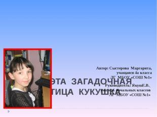 ТЕМА: ЭТА ЗАГАДОЧНАЯ ПТИЦА КУКУШКА   Автор: Сыстерова Маргарита, учащаяся