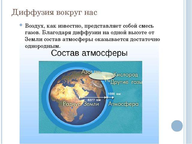 Диффузия вокруг нас Воздух, как известно, представляет собой смесь газов. Бла...