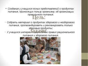 Создание у учащихся ясных представлений о продуктах питания, приносящих поль