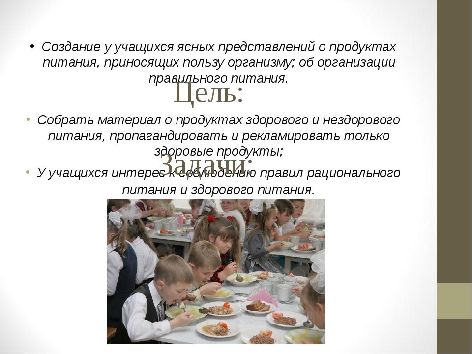 Создание у учащихся ясных представлений о продуктах питания, приносящих поль...