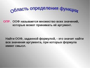 ОПР. ООФ называется множество всех значений, которые может принимать её аргум