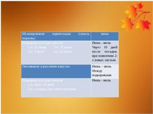 Мульчирование корнеплодов (свекла, морковь) июнь Подкормка рассады капусты 1-
