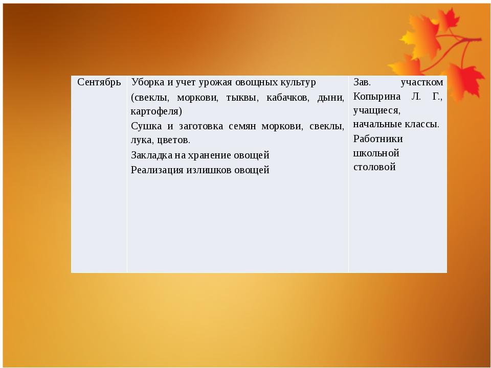 Сентябрь Уборка и учет урожая овощных культур (свеклы, моркови, тыквы, кабачк...