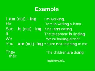 Example I am (not) – ing I'm working. He Tom is writing a letter. She is (not