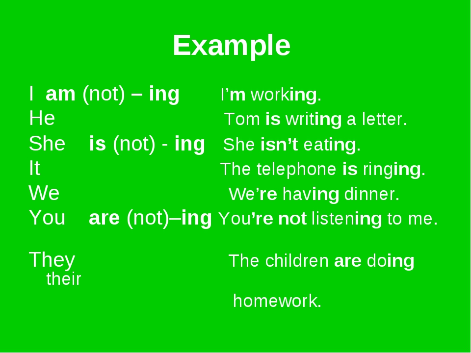 Example I am (not) – ing I'm working. He Tom is writing a letter. She is (not...