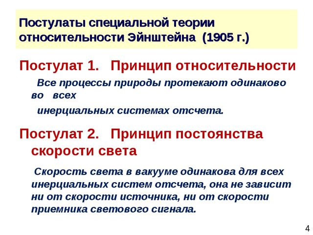 * Постулаты специальной теории относительности Эйнштейна (1905 г.) Постулат 1...
