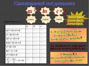 Определите a, b, c: abc 2х2 + 3х +5 = 0 х2 - 3х +5 = 0 5х2- х - 15 =