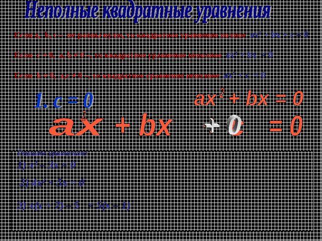 Если a, b, c – не равны нулю, то квадратное уравнение полное ax2 + bx + c = 0...