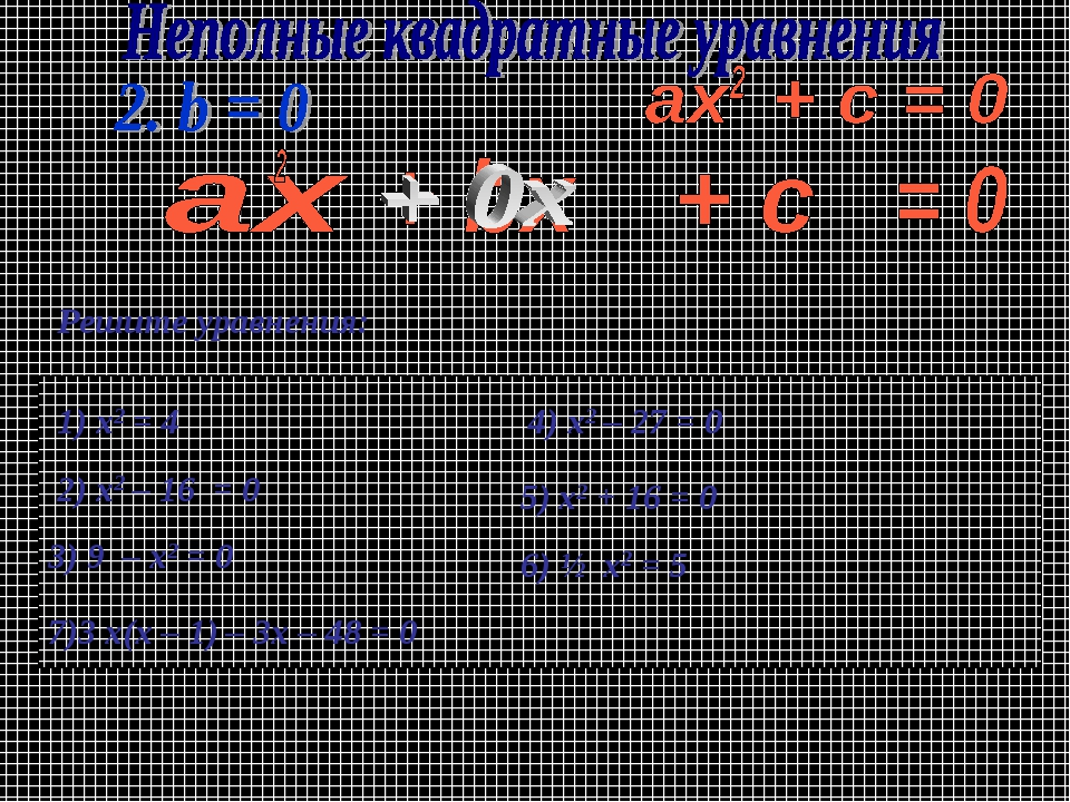 Решите уравнения: 1) х2 = 4 2) х2 – 16 = 0 7)3 x(х – 1) – 3х – 48 = 0 4) x2 –...